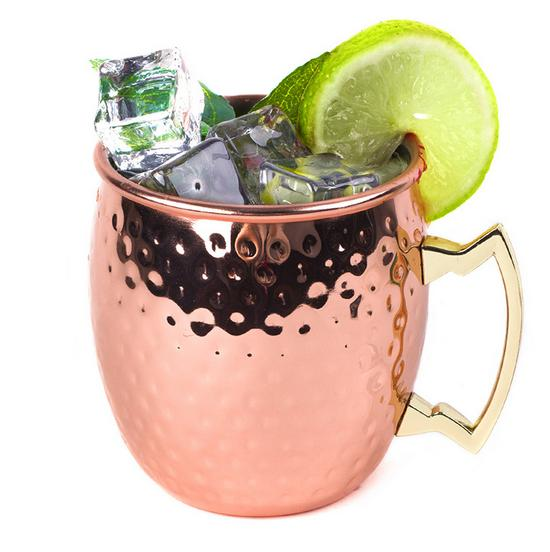 4pcs Stainless steel Hammered Copper plated Stainless Steel Moscow Mule Mug Drum Type Beer Cup of