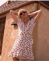 Для женщин в платье в горошек короткий рукав рюшами Шелковый Обёрточная бумага Мини платья Винтаж глубоким v образным вырезом пикантные лет