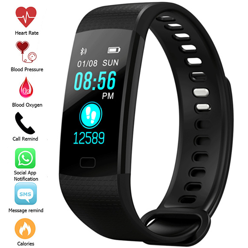 New Sport Bracelet <font><b>Watch</b></font> Women <font><b>Men</b></font> LED <font><b>Waterproof</b></font> <font><b>Smart</b></font> Wrist Band Heart Rate Blood Pressure Pedometer Clock For Android iOS image