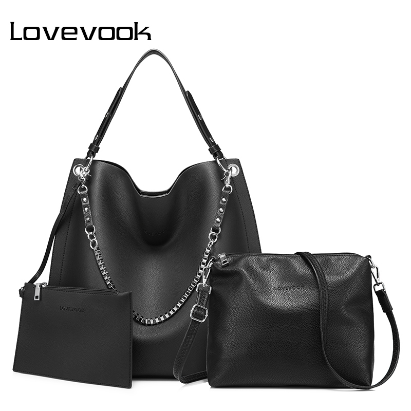 LOVEVOOK 3 set women handbag large tote bag shoulder crossbody bag with soft artificial leather female messenger bag small purse lovevook shoulder messenger bags for women crossbody bag pu female small handbag and purse with tassel fashion zippers designer