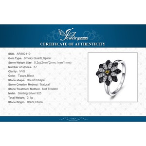 Image 5 - JewelryPalace Flower Genuine Smoky Quartz Black Spinel Ring 925 Sterling Silver Rings for Women Silver 925 Gemstones Jewelry