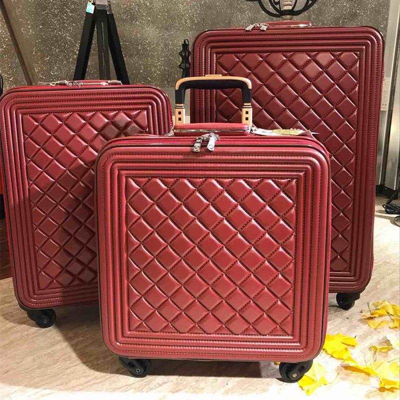 Fashion woman luggage bag 16/20/24 inch lingge bags PU handbag rolling spinner silent 4 wheel man Vintage brand travel suitcase