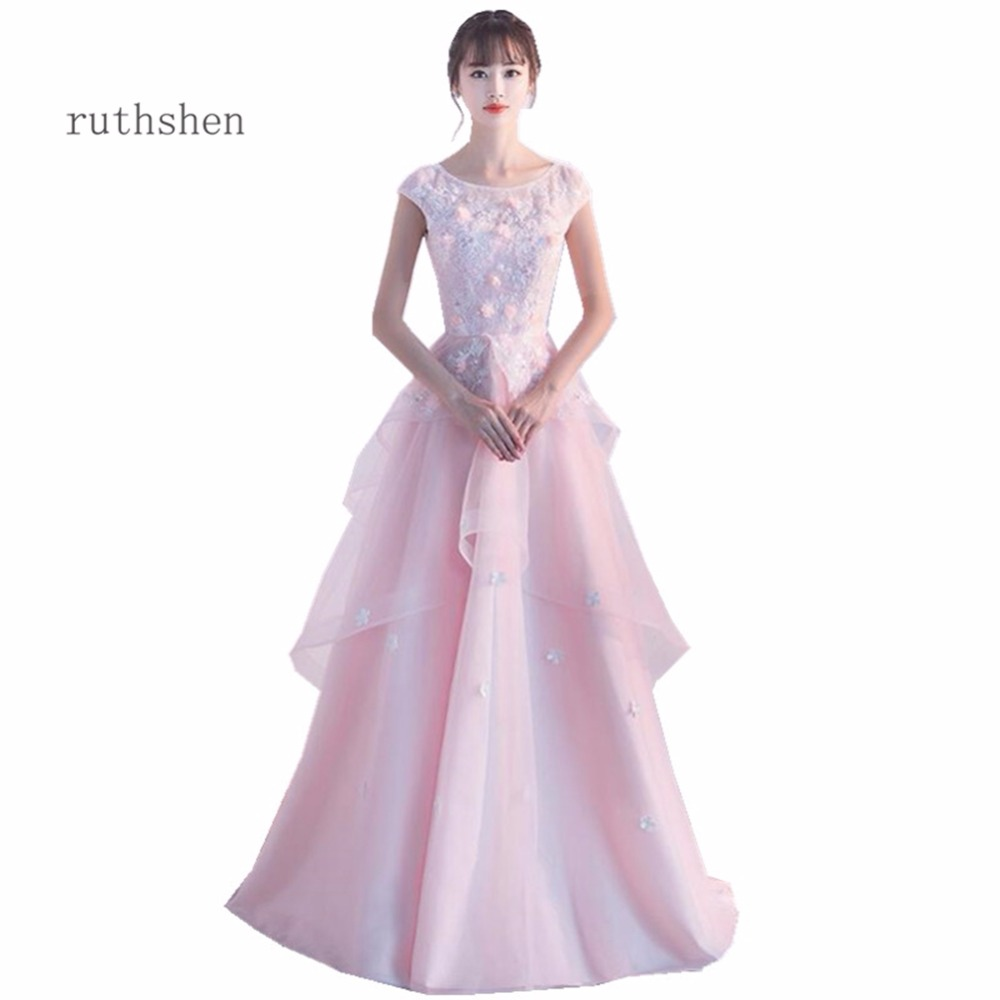 ruthshen Sexy Scoop Neck Prom Dresses New Arrivals Short Cap Sleeves Appliques Flower Party Evening Gowns Pink Formal Dress 2018