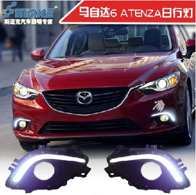 ФОТО Hireno Car LED DRL Waterproof ABS 12V Daytime Running Lights for Mazda 6 Mazda6 atenza 2014-15 Fog lamp 2PCS