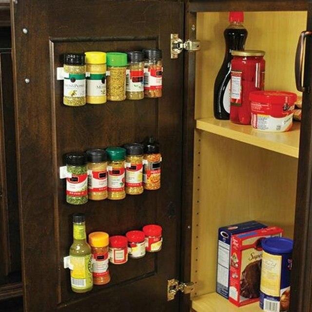 4pcsset Clip N Store Organizer Stick Spice Rack Storage Gripper