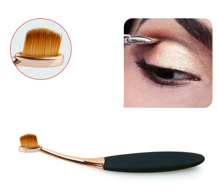 Toothbrush NEW Oval Shape Powder Foundation Makeup Brush Brushes Make up Eyebrow Beauty Tools Black Gold 10PCSset (10)
