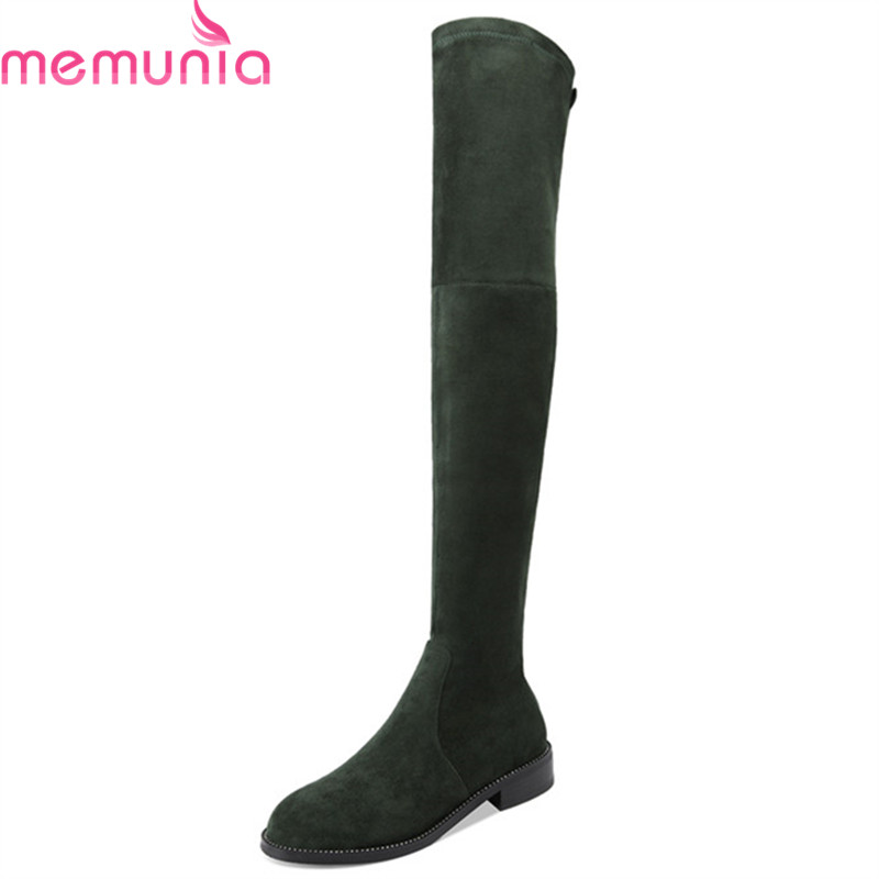 MEMUNIA 2018 hot sale top quality suede leather thigh high boots women round toe autumn winter Stretch socks boots rivet shoes MEMUNIA 2018 hot sale top quality suede leather thigh high boots women round toe autumn winter Stretch socks boots rivet shoes