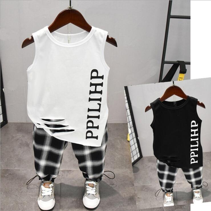 Summer Cute Letter 2PCS Kids Baby Boys Vest Top Pants Set Clothes Children Fashion Clothing Sets 2-6years 1