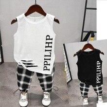 Conjunto de ropa para niños de 2 uds., chaleco y pantalones con letras, a la moda, para niños de 2 a 6 años
