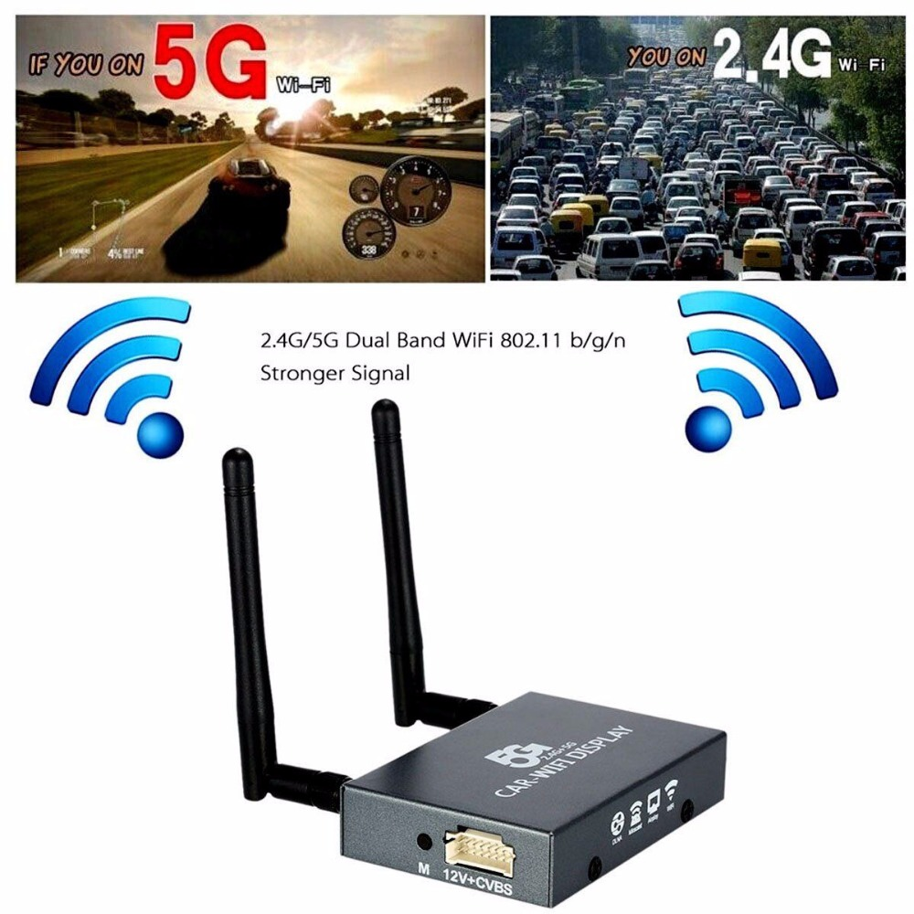 Car Wifi Display Mirabox 2.4G 5G Wireless Airplay Miracast DLNA Screen Mirroring HDMI Connector Car Monitor Dongle Router Box