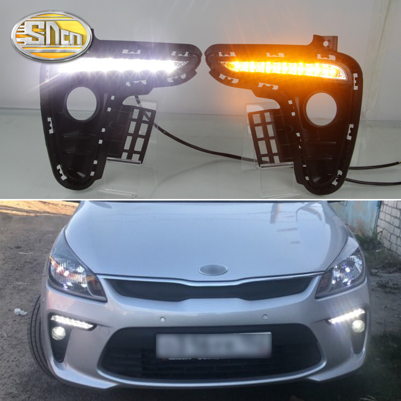 For Kia Rio K2 2017 2018 Yellow Turning Signal Style Relay Waterproof ABS Car DRL 12V LED Daytime Running Light Daylight SNCN 12v car dimming style relay drl kit for kia rio k2 led daytime running light auto led fog lamps daylight 2011 2012 2013 2014