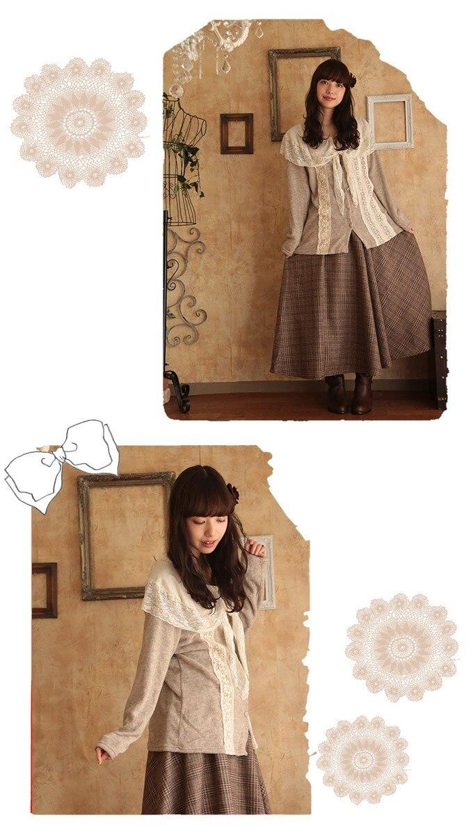 Mori Girl Lolita стиль шарф воротник кружевной топ футболка свободные большие размеры для женщин Cawaii Лолита девушка качество рубашки туника топ одежда