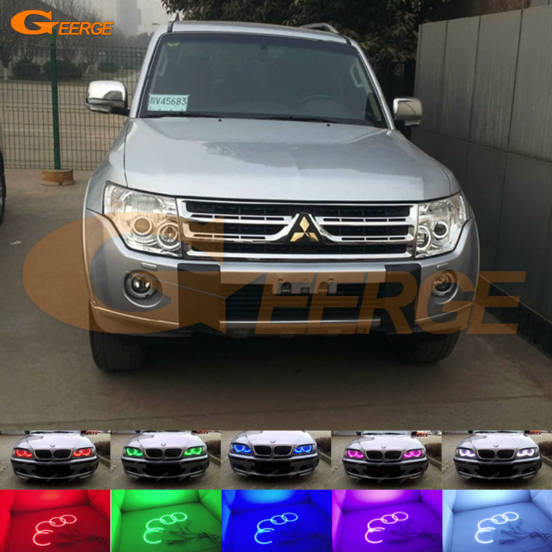 For Mitsubishi pajero 2006 2007 2008 2009 2010 2012 2013 2014 2015 2016 Multi-Color Ultra bright RGB LED Angel Eyes kit rear fog lamp spare tire cover tail bumper light fit for mitsubishi pajero shogun v87 v93 v97 2007 2008 2009 2010 2011 2012 2015