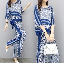 3XL Office Lady Elegant Style Women Chiffon Suit Plus Size Summer O-neck Printed Tops Outfit Lace up Wide Leg Pants Set