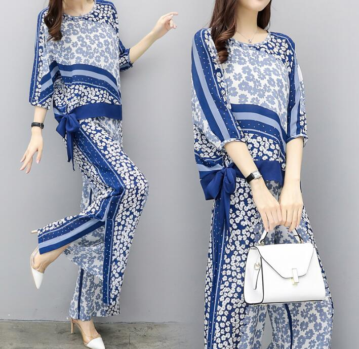 3XL Office Lady Elegant Style Women Chiffon Suit Plus Size Summer O neck Printed Tops Outfit Lace up Wide Leg Pants Set