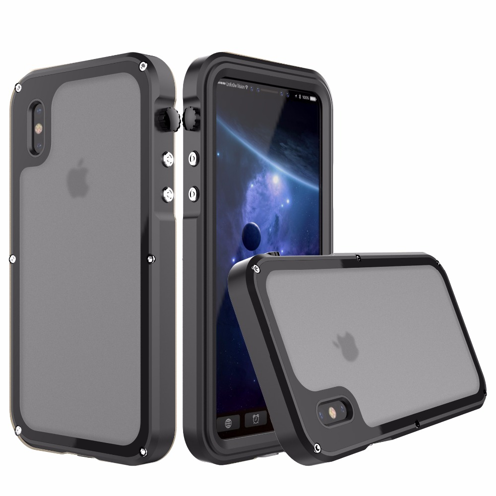 R-JUST Luxury Heavy Duty Hybrid Cover for iPhone X Metal Armor Shockproof Aluminum Case For iPhone X 10 IP68 Waterproof Coque