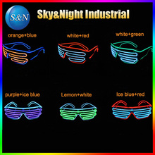 2PC/Lot EL wire two colors mix flashing glasses LED glasses EL glasses