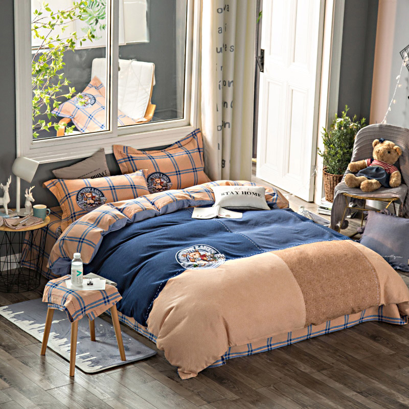 buy cartoon teddy bear plaid bedding set. Black Bedroom Furniture Sets. Home Design Ideas