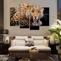 4 Panels No Frame Yellow Spots Leopard Painting Canvas Wall Art Picture Home Decor Living Room
