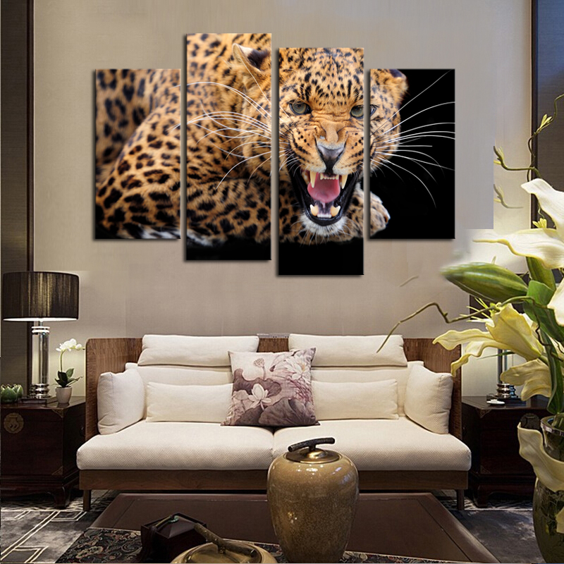 4 Panels (No Frame)Yellow Spots Leopard Painting Canvas Wall Art ...