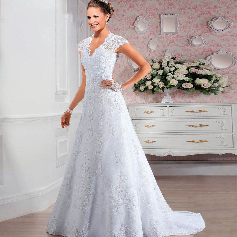 Wedding Gowns With Cap Sleeves: Short Cap Sleeves V Neck Lace A Line Wedding Dress