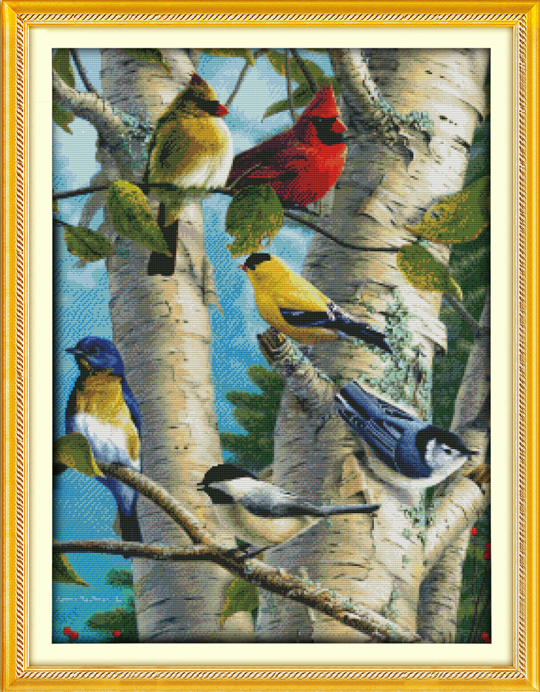 Birch birds in the tree, counted printed on fabric DMC 14CT 11CT Cross Stitch kits,embroidery needlework Sets, Home Decor