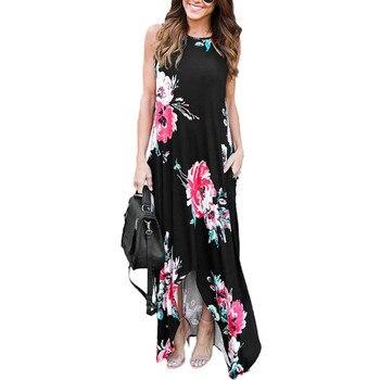c9a767d332 Mujeres Sexy largo BOHO fiesta Floral verano playa Maxi vestido Casual  suave estampada sin mangas vestidos vestido de ropa