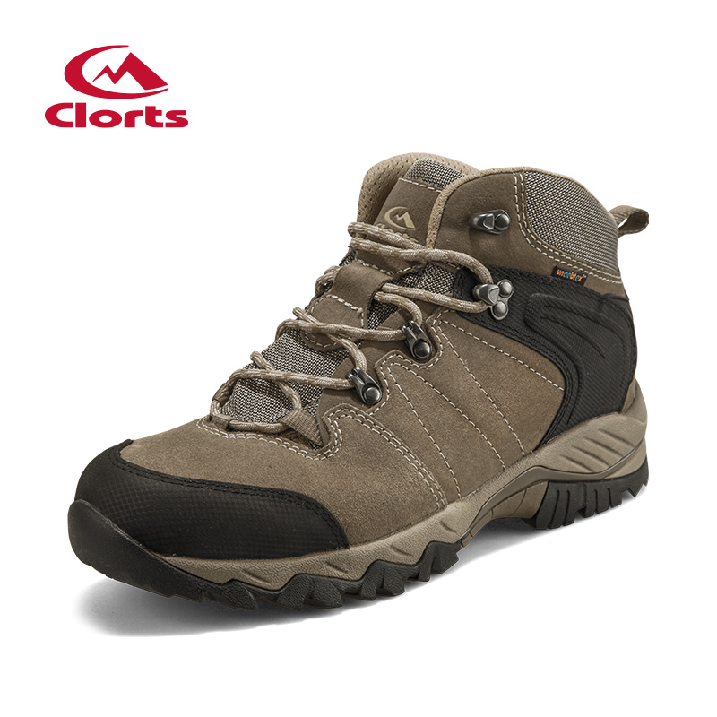 2018 Clorts Mens Hiking Boots Waterproof Breathable Outdoor Climbing Sports Shoes Suede Leather For Male Free Shipping HKM-822G mens women golf shoes genuine leather shoes british style waterproof breathable free shipping