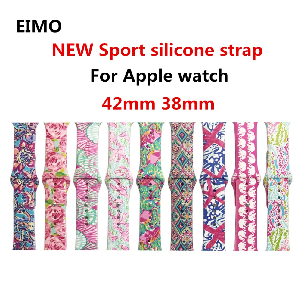 For Apple Watch band 42mm 38mm Sport Silicone strap Iwatch 3/2/1 bracelet Replacement Rubber Wrist watchband with metal Buckle цена