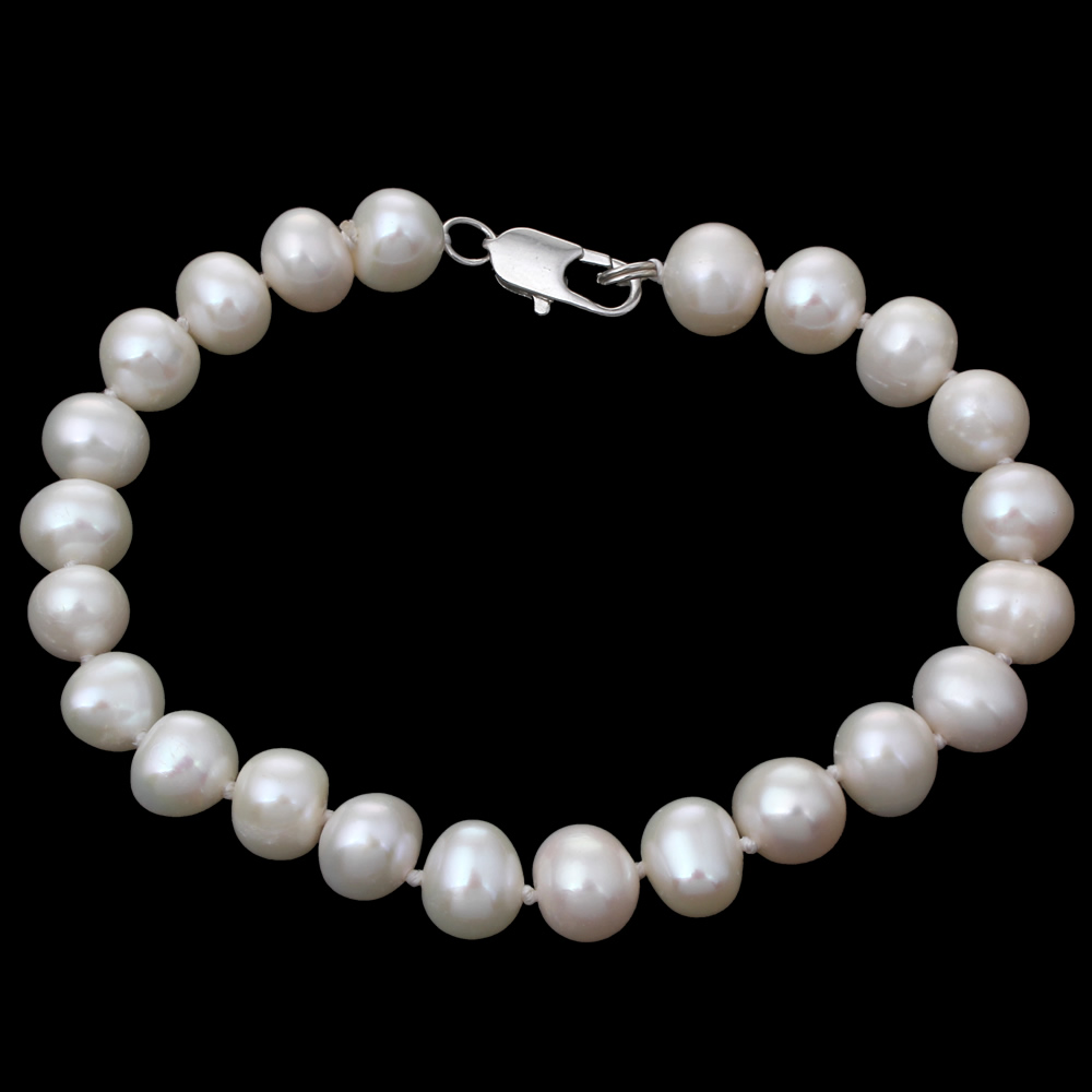 New Freshwater Real Pearl Bracelet Wedding Women Gril Gift Natural White Pearl 8-9mm Beads Strand 7.5