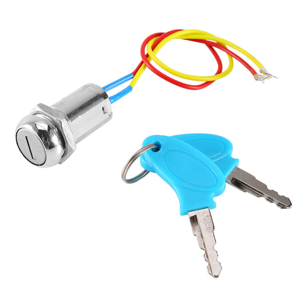 2 Wire Key Ignition Switch locking Keys Lock For Electric Scooter ATV Moped Kart Metal Ignition Key Switch Lock Moto Accessories