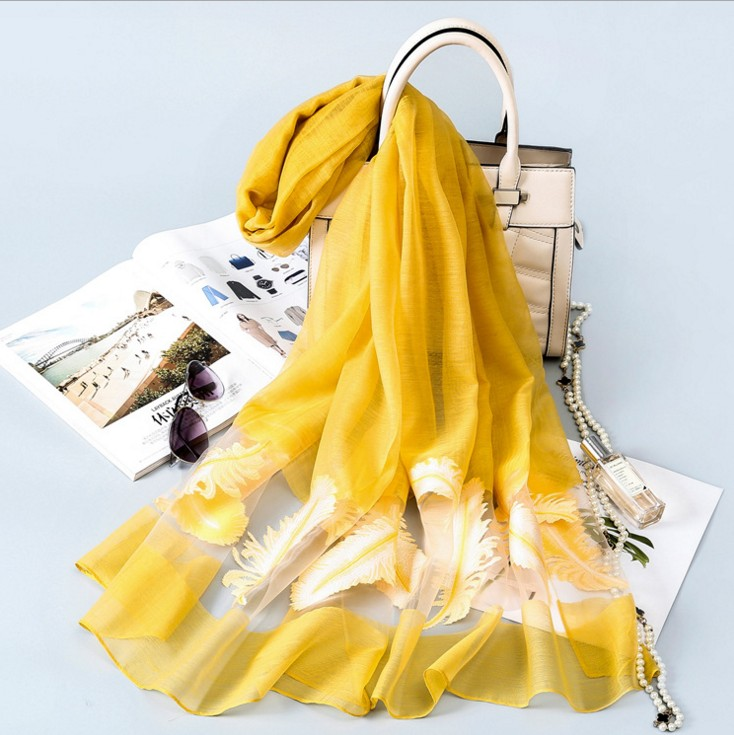 Spring   Scarf   Fashion Accessories Elegant Organza   Scarf     Wrap   Lightweight Long   Scarves   feather pashmina