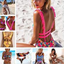 Caliente 2018 brasileña Sexy impresión Bikinis mujeres traje de baño Push up traje de baño femenino conjunto de Bikini playa traje de baño Biquini