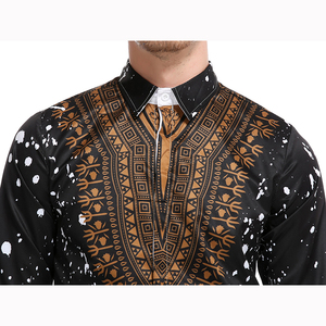 Image 5 - Camisa masculina casual 3d estilo nacional, com estampa floral, camisa masculina manga longa 3xl