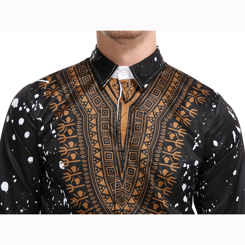 Image 5 - New tops men's casual shirt 3D National style printing Floral pattern shirts men fashion Standard Edition long sleeve Shirt 3XL-in Casual Shirts from Men's Clothing