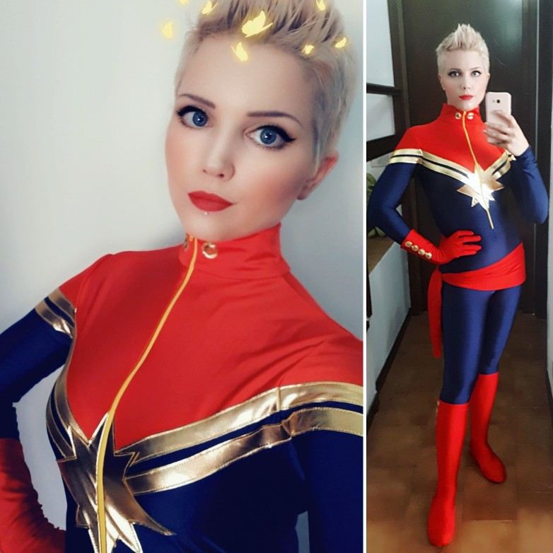 Free Shipping Royal Blue Women Ms Captain Marvel Carol Danvers Superhero Costume For Halloween Party Cosplay