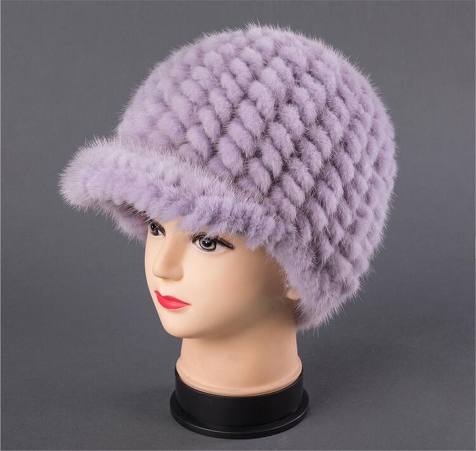 BFDADI New Fshion And Warm Hat For Women Real Natural Mink Fur Cap High quality Cute with ears and tail Hat Snow Warm - 6