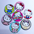10pcs KT picture random Hello kitty Cartoon Movie Glass Cabochons Jewelry Finding Cameo Pendant bracelet Earrings Settings