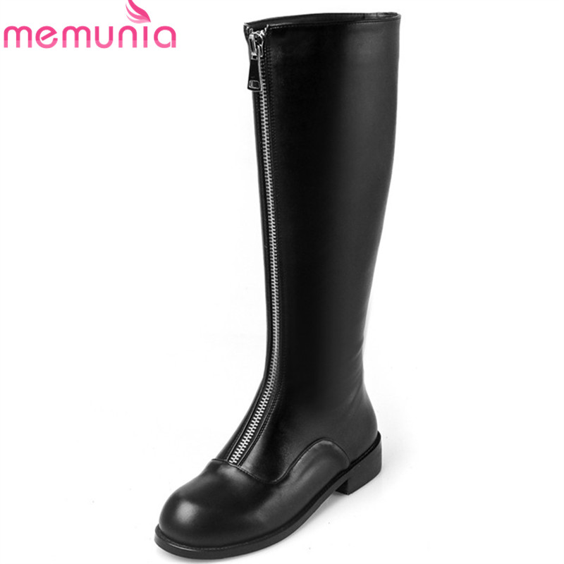 MEMUNIA 2018 new arrival knee high boots women round toe genuine leather boots zipper square heels fashion shoes woman black MEMUNIA 2018 new arrival knee high boots women round toe genuine leather boots zipper square heels fashion shoes woman black