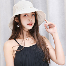 Summer hat Fisherman ladies summer cloth solid color cotton fisherman basin cap folding outdoor sunscreen big visor