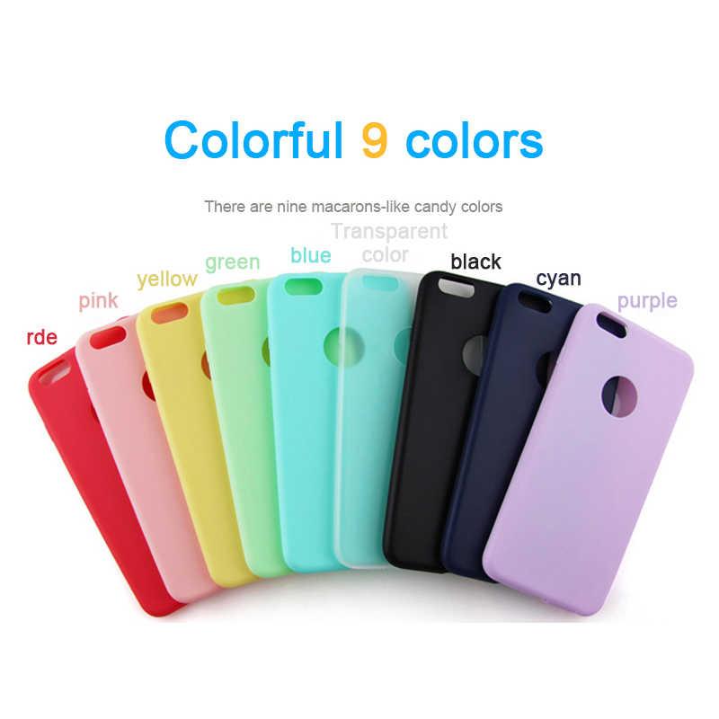 Silicone Mềm Kẹo Màu Dành Cho iPhone 11 Pro XS Max XR X 10 8 7 6 5S 5 S 5SE 6S Plus 7Plus 8Plus 6Plus Tế Bào Lưng Điện Thoại