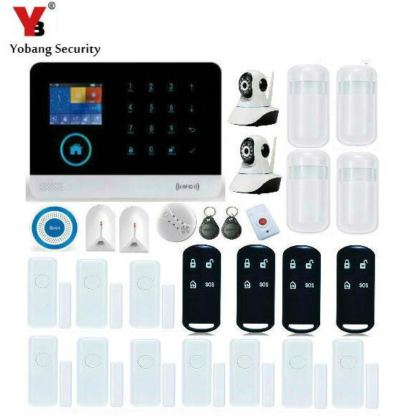 YobangSecurity Wireless Security Video IP Camera WIFI RFID Home Surveillance Alarm System With Wireless Siren Smoke Fire Sensor цена