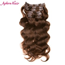 Aphro Hair Clip In Human Hair Extensions Non-Remy Hair 7Pcs/Set 70g Brazilian Body Wave 16-24 inches Light Brown #4 Clip Ins