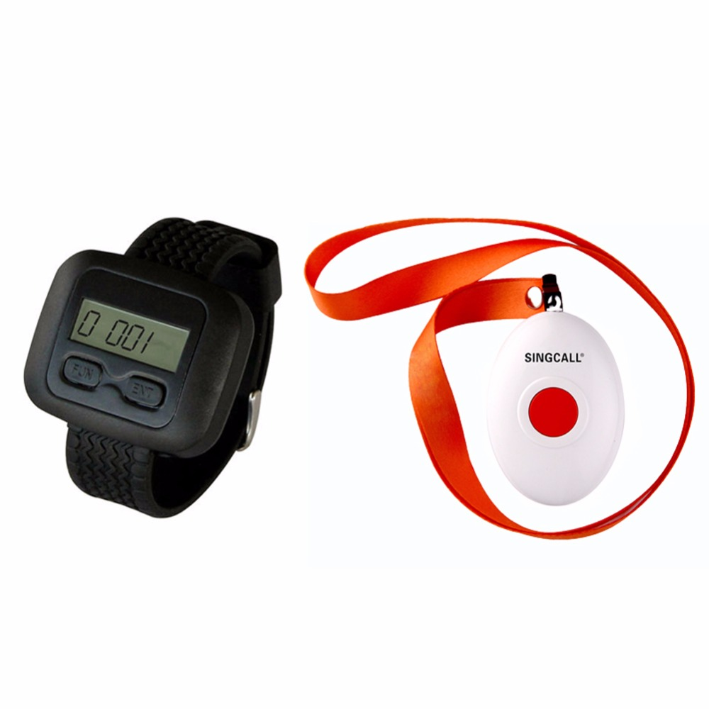 SINGCALL Wireless Nursing Call Paging System,1 Watch Receiver with a Button Bell,APE6600 and APE160 wireless table call system monitor bell buzzer used in the cafe bar restaurant 433 92mhz 2 display 1 watch 18 call button