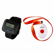 SINGCALL Wireless Nursing Call Paging System,1 Watch Receiver with a Button Bell,APE6600 and APE160