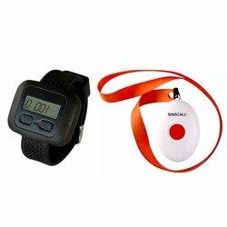 SINGCALL bezprzewodowe pielęgniarstwa wywołanie stronicowania System  1 zegarek odbiornik z przyciskiem dzwon  APE6600 i APE160