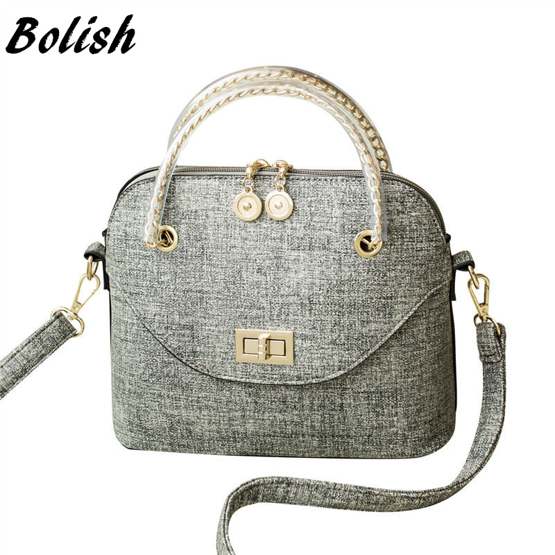 Bolish New Arrival PU Leather Top-handle Bag Fashion Lock Women Shoulder Bag Shell Small Shell Style Women Bag jialante 2017 new lizard leather bag is made of simple small shell bag customized for 15 days