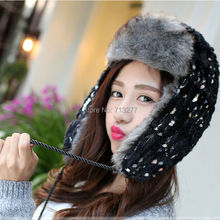 2015 New Russian Bomber Hats Faux Fur Winter Warm Russian Hat Aviator Trooper Trapper Earflap Cap Snow Caps Sequin Ski Cap