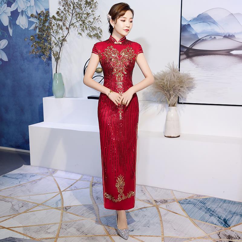 U-SWEAR 2019 New Arrival 5 Colors Elegant Women Cheongsam   Bridesmaid     Dresses   Embroidery Sequined Beaded Sheath   Bridesmaid     Dress