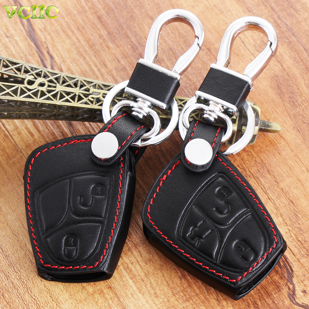 Fob remote leather key bag case cover for mercedes benz a for Mercedes benz key pouch